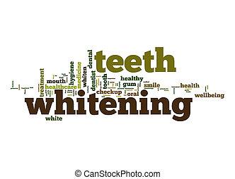 vitfärgning, ord, moln, tänder