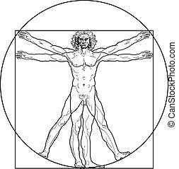 vitruvian, (outline, version), man