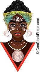 voodoo, kvinna, afrikansk