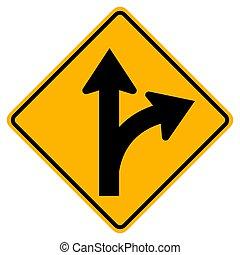 vrida, rättighet, eller, vägmärke, fortsätt, rak