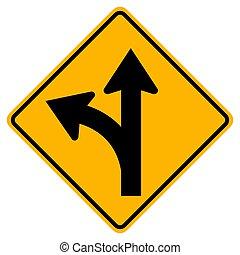vrida, vänster, eller, vägmärke, fortsätt, rak
