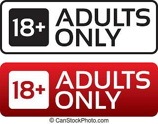vuxna, ålder, button., stamp., innehåll, bara, begränsa