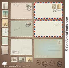 vykort, årgång, formen, vektor, stamps., kuvert, set: