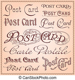 vykort, årgång, letterings