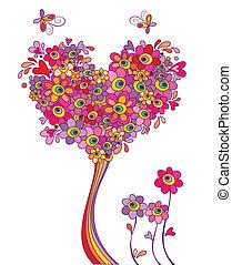 vykort, rolig, träd, hälsning
