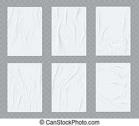 wall., realistisk, affisch, papper, limmat, flygare, sätta, vektor, mall, rynkig, eller