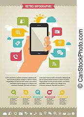 websajt, ikonen, mobil, -, ringa, infographic, bakgrund
