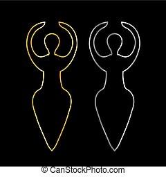 wicca, guld, symbol, silver