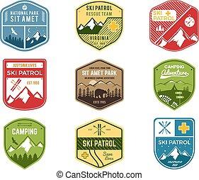 wilderness., sätta, patrull, färg, snowboard, utomhus, logo, design., fjäll, vinter, camping, årgång, resa, hipster, oavgjord, skida, insignia., utforskare, klubba, labels., hand, äventyr, symbol., ikon, badges., vektor