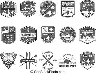 wilderness., utomhus, patrull, snowboard, sätta, logo, monokrom, märken, design., fjäll, vinter, årgång, resa, hipster, oavgjord, skida, insignia., utforskare, klubba, labels., hand, äventyr, symbol., ikon, läger, vektor