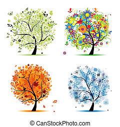 winter., vacker, konst, fjäder, höst, -, träd, fyra, design, kryddar, din, sommar