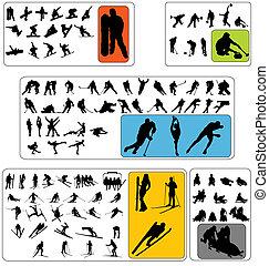 wintersport, silhouettes, kollektion