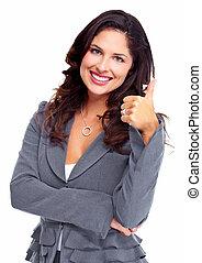woman., success., affär, lycklig
