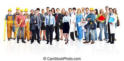 workers., industriell, grupp