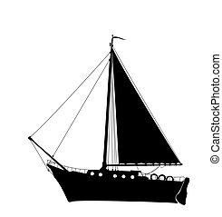 yacht, 2, silhuett, segla