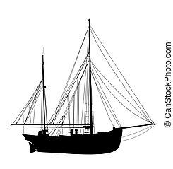 yacht, 3, silhuett, segla