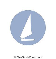 yacht, cirkel, vektor, silhuett, illustration