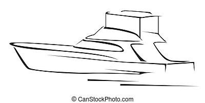 yacht, illustration, symbol, vektor