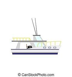 yacht, isolerat, illustration, bakgrund., vektor, motor, nautisk, vit