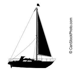 yacht, silhuett, segla