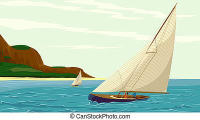 yacht, sport, island., segel, mot
