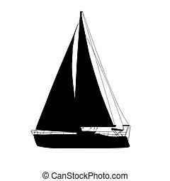 yacht, vit, silhuett