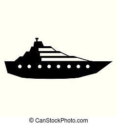 yacht, white., ikon