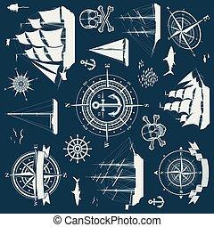 yachter, set formge, kompass, sänder, objekt, segla, nautisk