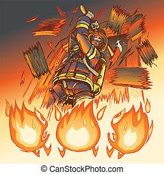 yxa, brandman, flammor, angrepp, w/